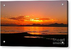 Acrylic Print featuring the photograph Salt Lakes A Fire by Chris Tarpening