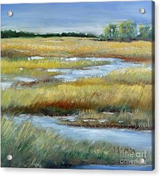Salt Marsh Acrylic Print by Sally Simon