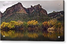 Salt River Mountain Reflections Acrylic Print by Dave Dilli