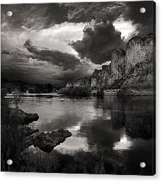 Salt River Stormy Black And White Acrylic Print