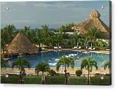 Saltwater Pool At Resort Hotel Acrylic Print by William Sutton