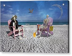 Sam And His Friend Visit Long Boat Key Acrylic Print by Betsy Knapp