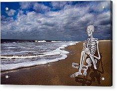 Sam Looks To The Ocean Acrylic Print by Betsy C Knapp
