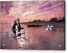 Sam Takes A Break From Kayaking Acrylic Print by Betsy Knapp