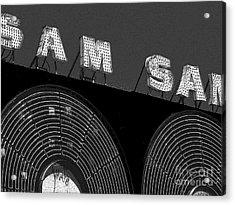 Sam The Record Man At Night Acrylic Print by Nina Silver