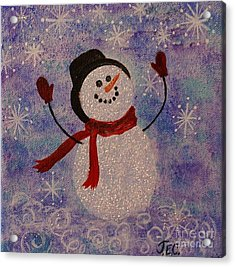 Sam The Snowman Acrylic Print by Jane Chesnut