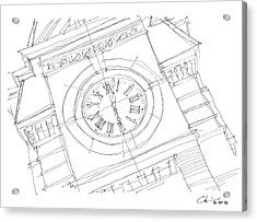 Acrylic Print featuring the drawing Samford Clock Sketch by Calvin Durham