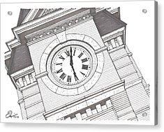Acrylic Print featuring the drawing Samford Hall Detail by Calvin Durham