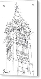 Acrylic Print featuring the drawing Samford Hall Sketch by Calvin Durham