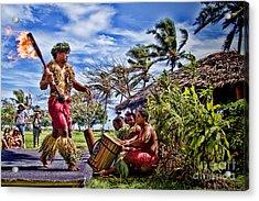 Samoan Torch Bearer Acrylic Print by David Smith
