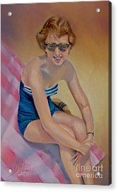Sam's Pin-up Acrylic Print by Leah Wiedemer