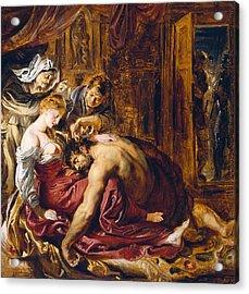 Samson And Delilah, C.1609 Oil On Panel Acrylic Print