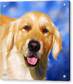 Happy Golden Retriever Painting Acrylic Print by Michelle Wrighton