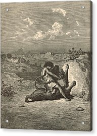 Samson Slaying The Lion Acrylic Print by Antique Engravings