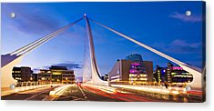 Acrylic Print featuring the photograph Samuel Beckett Bridge And National Conference Centre / Dublin by Barry O Carroll