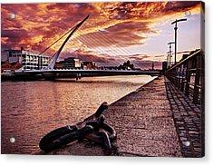 Acrylic Print featuring the photograph Samuel Beckett Bridge At Dusk - Dublin by Barry O Carroll