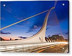 Acrylic Print featuring the photograph Samuel Beckett Bridge At Night / Dublin by Barry O Carroll