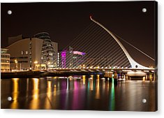 Samuel Beckett Bridge In Dublin City Acrylic Print by Semmick Photo