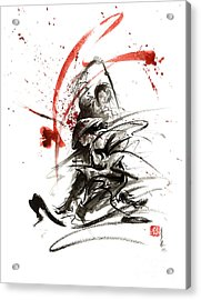 Samurai Sword Black White Red Strokes Bushido Katana Martial Arts Sumi-e Original Fight Ink Painting Acrylic Print by Mariusz Szmerdt