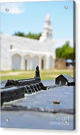 San Antonio Missions National Historical Park Mission San Juan Exterior And Bronze Diorama Acrylic Print by Shawn O'Brien