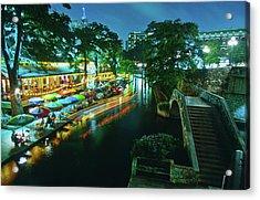 San Antonio River Walk At Night, River Acrylic Print