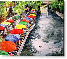 Acrylic Print featuring the painting San Antonio River Walk by Tom Riggs
