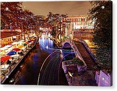 San Antonio Riverwalk And Christmas Lights - San Antonio Texas Acrylic Print by Silvio Ligutti
