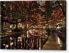 San Antonio Riverwalk Decorated With Shiny Lights At Night Refle Acrylic Print by Alan Tonnesen
