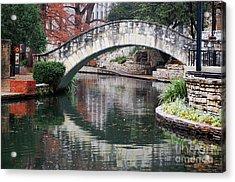San Antonio Riverwalk Footbridge And Reflection Acrylic Print