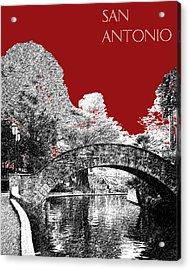 San Antonio Skyline River Walk - Dark Red Acrylic Print