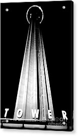San Antonio Tower Of The Americas Hemisfair Park Space Needle Tower Restaurant Black And White Acrylic Print by Shawn O'Brien