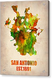 San Antonio Watercolor Map Acrylic Print by Naxart Studio