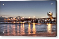 San Clemente Pier At Night Acrylic Print