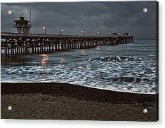 San Clemente Pier Dawn Acrylic Print by Joan Carroll