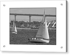 Acrylic Print featuring the digital art San Diego Bay Sailing 1 by Kirt Tisdale
