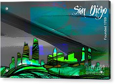 San Diego California Skyline Watercolor Acrylic Print by Marvin Blaine