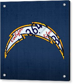 San Diego Chargers Football Team Retro Logo California License Plate Art Acrylic Print