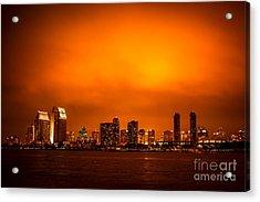 San Diego Cityscape At Night Acrylic Print by Paul Velgos
