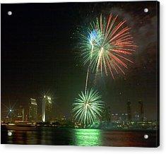 San Diego Cityscape Fireworks Acrylic Print