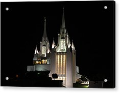 Acrylic Print featuring the photograph San Diego Mormon Temple At Night by Nathan Rupert