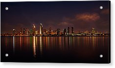 San Diego Night Skyline Acrylic Print by Peter Tellone