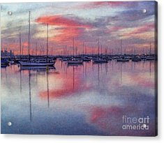 Acrylic Print featuring the digital art San Diego - Sailboats At Sunrise by Lianne Schneider