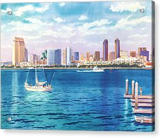 San Diego Skyline And Convention Ctr Acrylic Print by Mary Helmreich