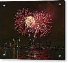 San Diego Skyline Fireworks Acrylic Print