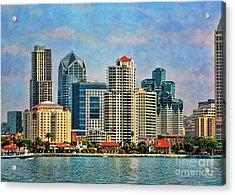 San Diego Skyline Acrylic Print by Peggy Hughes