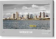 San Diego Skyline - Poster Style Acrylic Print