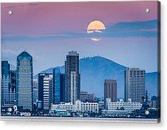 San Diego Super Moonrise - San Diego Skyline Photograph Acrylic Print by Duane Miller