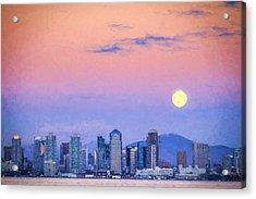 San Diego Supermoon - Digital Photo Art Acrylic Print