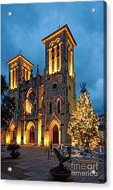 San Fernando Cathedral And Christmas Tree Main Plaza - San Antonio Texas Acrylic Print