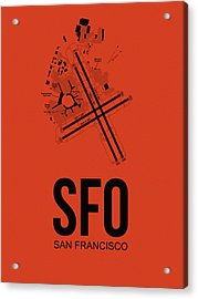 San Francisco Airport Poster 2 Acrylic Print by Naxart Studio